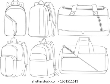 Backpack Duffle Luggage CAD Template design set