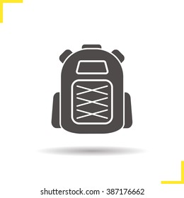 Backpack icon. Drop shadow student schoolbag silhouette symbol. Tourist travel and hiking equipment. Backpack logo concept. Vector rucksack isolated illustration