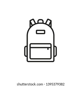 Backpack icon. Line style. Vector.