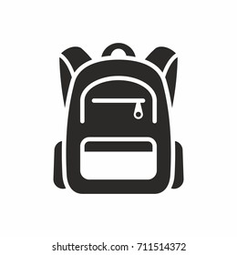 Backpack icon. School bag. Vector icon isolated on white background.