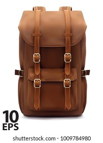 Backpack isolated on white. Realistic vector 3d illustration