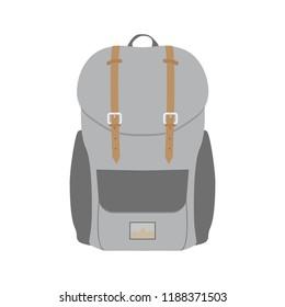 Backpack. Rucksack icon. Travel, school or hiking bag. Vector illustration.