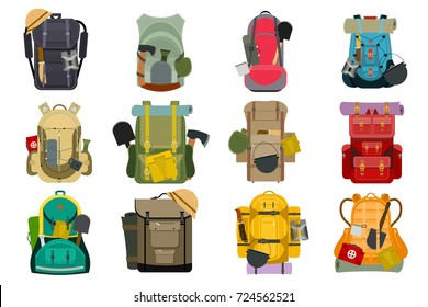 Backpack rucksack travel tourist knapsack outdoor hiking traveler backpacker baggage luggage vector illustration.