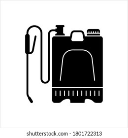 Backpack Sprayer Icon, Pesticide, Chemical, Knapsack Pressure Sprayer Vector Art Illustration