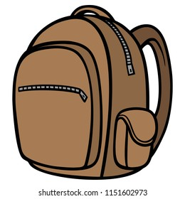 Backpack - A vector cartoon illustration of a Hiking Backpack.