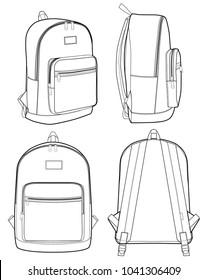 Backpack vector illustration flat sketches