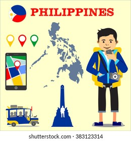 Backpacker with camera looking at a map using his mobile phone vector flat design illustration with Philippine jeepney, map pins, Philippine map, Luneta Rizal park, and Philippine flag badge - Layered