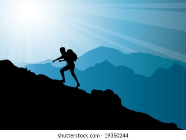 backpacker climbing on top of mountain, vector illustration
