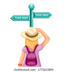Backpacker girl confusing choose way in road signboard, metaphor advertisment for travel and trip guidance symbol in cartoon illustration vector isolated in white background