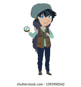 Backpacker teenage boy shows compass. Cartoon illustration on white background. Watercolour imitation.