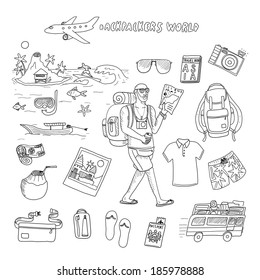 Backpackers world. Travel. Doodle set in vector isolated on a white  background. 922212086b