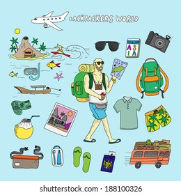 ab6d2cfa6c6f Backpackers world. Travel. Doodle set in vector isolated on a light blue  background.