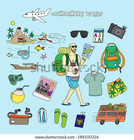 Backpackers world. Travel. Doodle set in vector isolated on a light blue  background. 61005b71e0