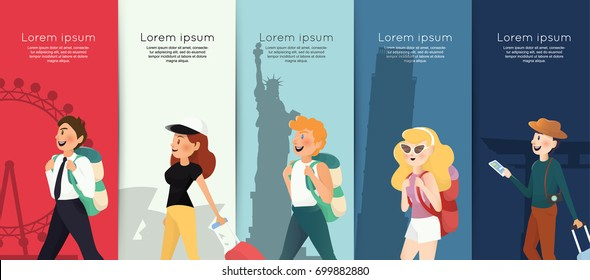 Backpacking people with traveling landmarks background