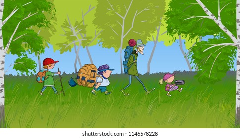 Backpacking tourist kids go through the birch forest vector cartoon