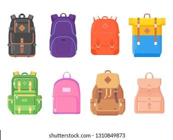 Backpacks icons set isolated on white. Vector illustration