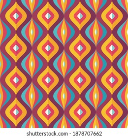 Backround mid-century modern art. Abstract geometric seamless vector pattern. Decorative ornament in retro vintage design style. Atomic stylized backdrop.