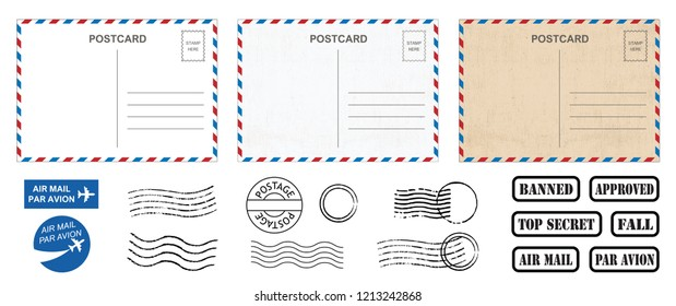 Backside blank travel postcard with dirty stain Vector fun funny Air mail par avion stamps stamp old post card empty text Back side template tags postale set logo print address track trace airmail