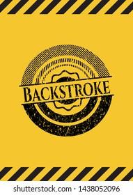 Backstroke black grunge emblem inside yellow warning sign. Vector Illustration. Detailed.