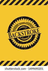 Backstroke black grunge emblem with yellow background. Vector Illustration. Detailed.