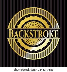 Backstroke gold badge or emblem. Vector Illustration. Detailed.