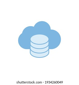 Backup to cloud, hosting icon in color icon, isolated on white background