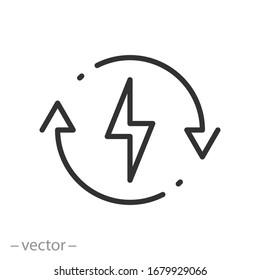 backup power engine icon, auto supply battery energy, consumption voltage sustainable, lightning bolt, thin line web symbol on white background - editable stroke vector illustration eps10