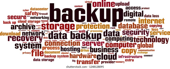 backup word cloud concept. Vector illustration