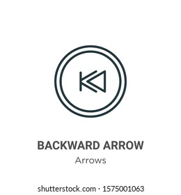 Backward arrow outline vector icon. Thin line black backward arrow icon, flat vector simple element illustration from editable arrows concept isolated on white background