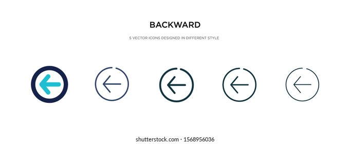 backward icon in different style vector illustration. two colored and black backward vector icons designed in filled, outline, line and stroke style can be used for web, mobile, ui
