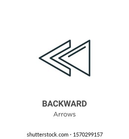 Backward outline vector icon. Thin line black backward icon, flat vector simple element illustration from editable arrows concept isolated on white background