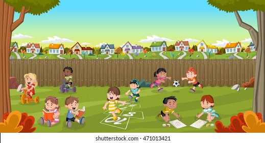 Backyard of a colorful house in suburb neighborhood with cartoon kids playing. Green park landscape with grass, trees, and houses.