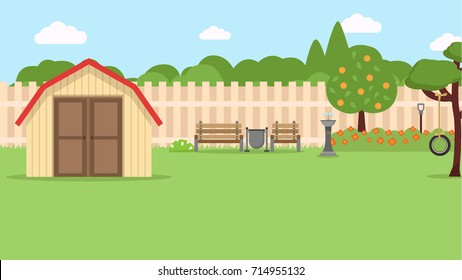 backyard flat illustration