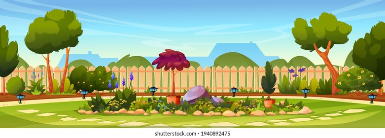 Backyard with flower bed, wooden fence hedge, grass and park plants, green trees and bushes, house on background. Vector flowerbed with stones and blossoms. Garden design architecture, lamps on ground