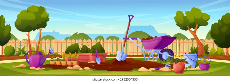 Backyard garden with cultivated soil, shovel and pitchfork, watering can and wheelbarrow, fence and country house on background. Vector gardening equipment, lawn with growing plants, potted flowers
