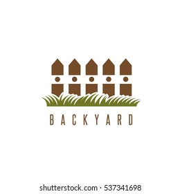 backyard vector design template with fence and grass