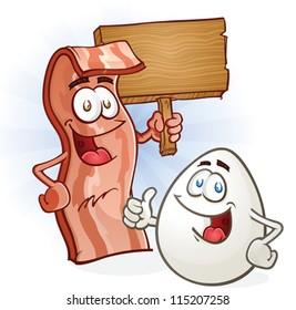Bacon And Egg Breakfast Cartoon Characters