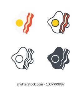 Bacon and eggs breakfast flat line icon