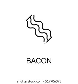 Bacon flat icon. Single high quality outline symbol of meat food for web design or mobile app. Thin line signs of bacon for design logo, visit card, etc.
