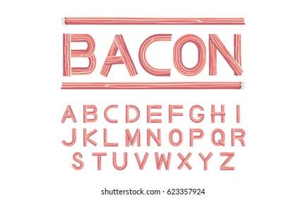 bacon font uppercase vector illustration
