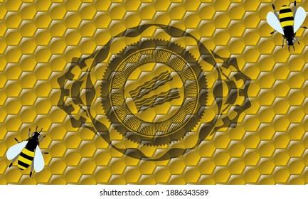 bacon icon inside honey bees emblem. beekeeping graceful background. Intense illustration.