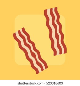 Bacon strips on bright background, flat style.