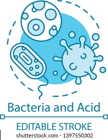 Bacteria and acid concept icon. Oral flora. Pathogens. Causes of tooth decay. Pathogenic microflora. Viruses and protozoa idea thin line illustration. Vector isolated outline drawing. Editable stroke