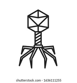 Bacteria bacteriophage black line icon. Bacterial infection sign. Microscopic germ cause diseases concept. Pictogram for web, mobile app, promo. UI UX design element. Editable stroke.