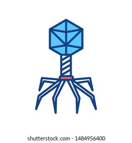 Bacteria bacteriophage color line icon. Bacterial infection sign. Microscopic germ cause diseases concept. Pictogram for web, mobile app, promo. UI/UX design element. Editable stroke.