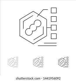 Bacteria, Biochemical, Examination, Form, Life Bold and thin black line icon set