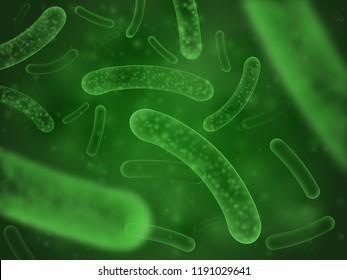 Bacteria biological concept. Micro probiotic lactobacillus green microorganism or ebola microscopic influenza cell, biology micro probiotics hiv virus. Salmonella scientific abstract background