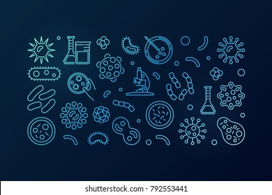 Bacteria blue vector illustration or horizontal banner made with bacterias and microbes concept icons on dark background