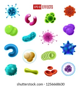 Bacteria cells, viruses and germs vector icons of infectious disease pathogens, harmful microorganisms and gut flora microbes. Human health care, hygiene and epidemic prevention theme