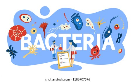 Bacteria concept. Medicine and microbiology area. Microscopic organism. Small good and bad bacterium in flora. Flat vector illustration